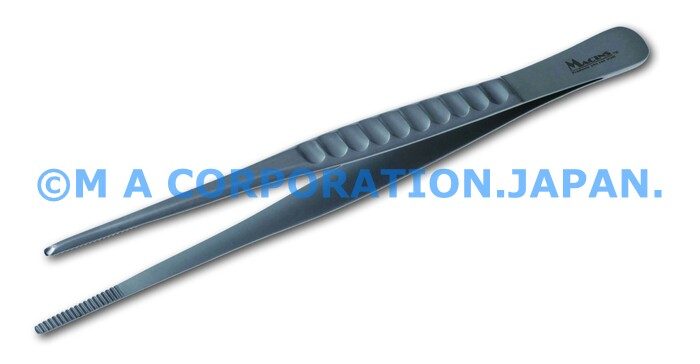 10040-18W Dressing Fcps taper tips, fluted grip 18cm